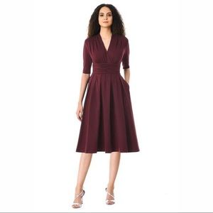 ESHAKTI Burgundy Chelsea Style Knit Dress NWOT